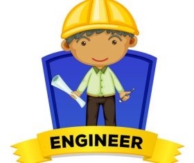 Engineer cartoon illustration vector