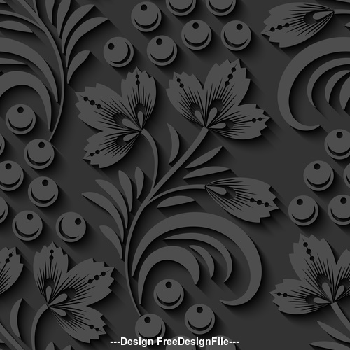 Engraving floral seamless pattern vector