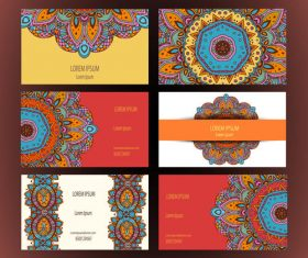 Ethnic style template cards vector