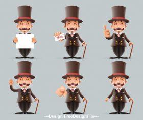 Expressive gentleman vector