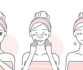 Face massage cartoon girl vector