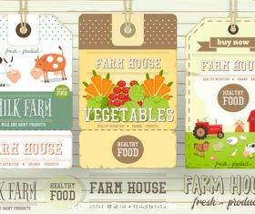 Farm cow and food label vector