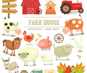 Farm elements isolated vector
