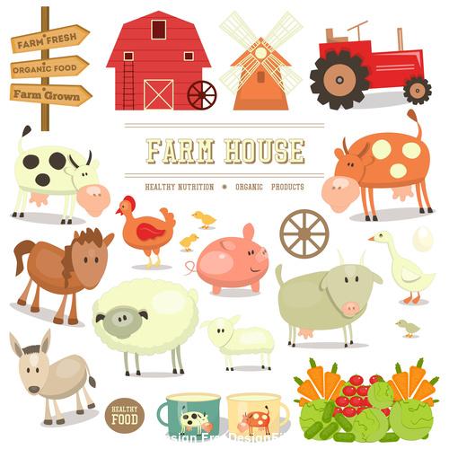 Farm elements isolated vector