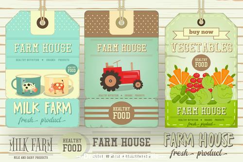 Farm house tags vector