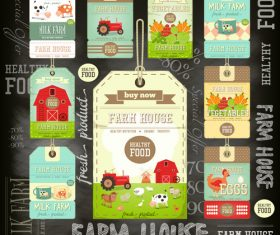 Farm price tags blackboard vector