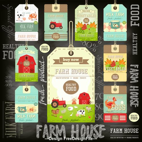 Farm price tags blackboard vector