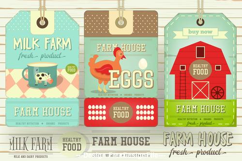 Farm price tags vector