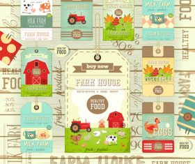 Farm price tags wooden background vector