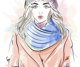 Fashion girl wearing knit hat and bib vector