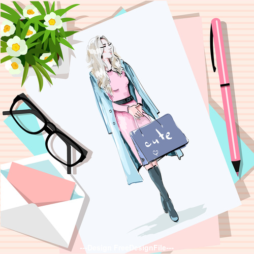 Fashion woman sketch on the desktop vector