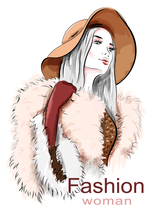 Fashion woman wearing a hat vector