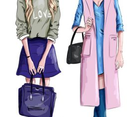 Fashionable illustration of girls vector