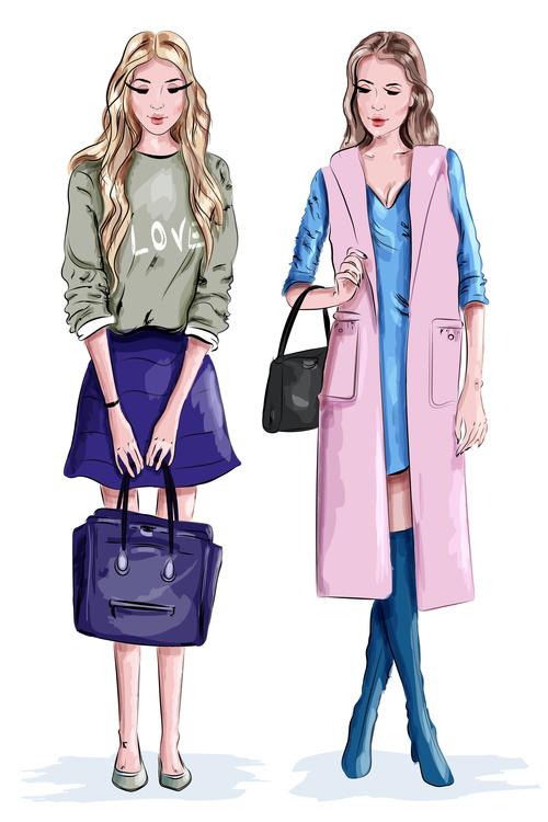 Fashionable illustration of girls vector