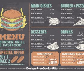 Fast food and burger grill Menu Template vector