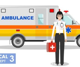 Female emergency doctor and ambulance vector
