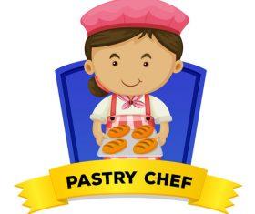 Female pastryry cartoon illustration vector