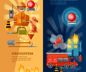 Fire efighters and equipment banner vector