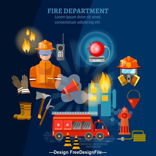 Fire safety equipment banner vector