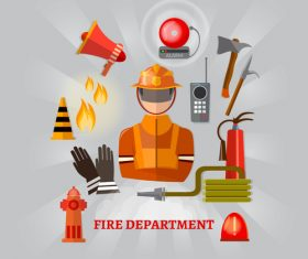 Fireman and fire safety equipment banner vector