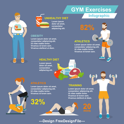 Fitness and nutrition foods Infographics vector