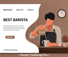 Flat cartoon barista vector