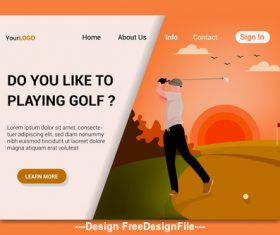 Flat cartoon playing golf vector