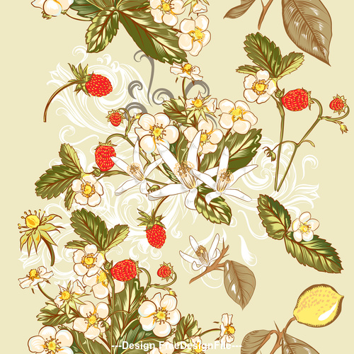 Floral and fruit design vector