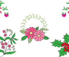 Floral decoration elements vector