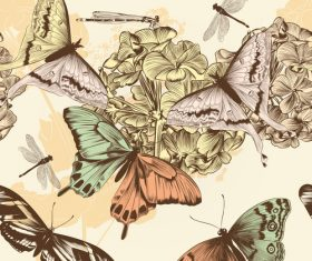 Floral embroidery design pattern and butterfly vector