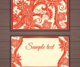 Floral ornamental business card vector