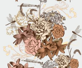 Floral pattern and dragonfly vector