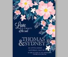 Floral wedding invitation template vector 01