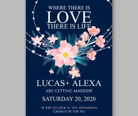 Floral wedding invitation template vector 02