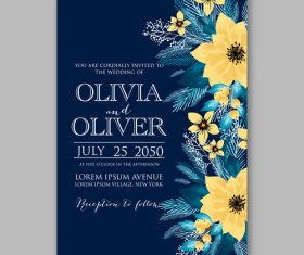 Floral wedding invitation template vector 03