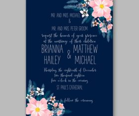 Floral wedding invitation template vector 04