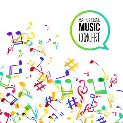 Flying musical notes background flyer Vector