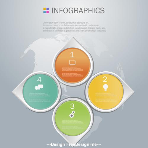 Four diamonds Infographics design template vector