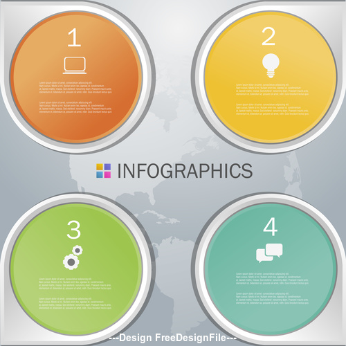 Four rounds Infographics design template vector