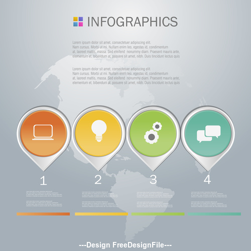 Four tags Infographics design template vector