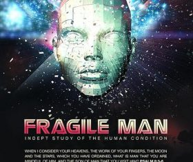 Fragile man poster psd template