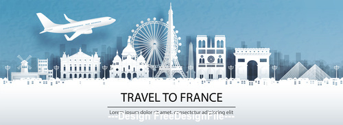 France city landscape and travel paper design