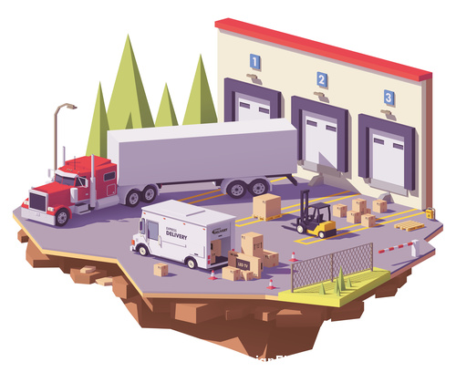 Freight vehicle 3d isometric vector