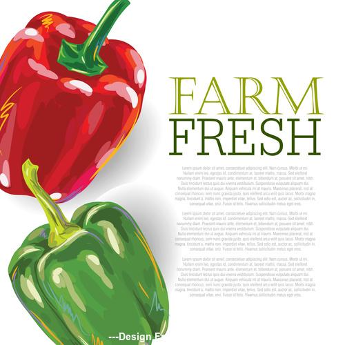 Fresh Green Pepper Ad Template vector