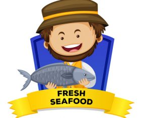 Fresh seafood cartoon illustration vector