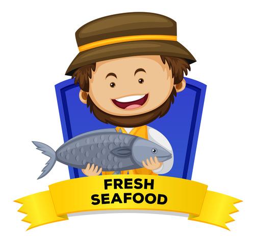Fresh seafood cartoon illustration vector