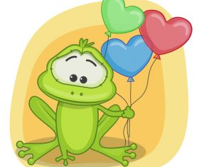 Frog and love balloon cartoon vector