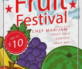 Fruit festival poster template vector
