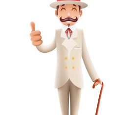 Gentleman wearing white costume thumbs up vector