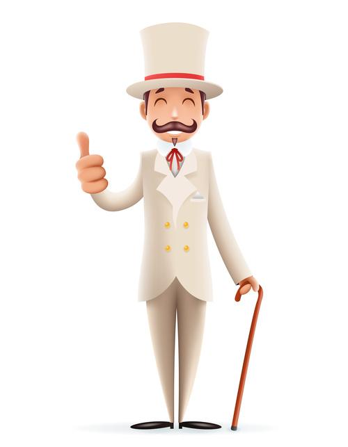 Gentleman wearing white costume thumbs up vector